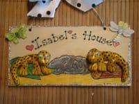 2 character 3d Leopard Gecko Personalised VIVARIUM TERRARIUM Children's Bedroom Reptile Lizard Sign Handmade plaque